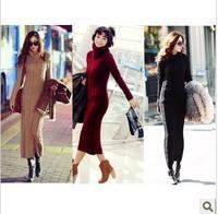 Free shipping 2014 new spring&winter women clothing morality turtleneck design slim fashion elegant wool knit thick dress
