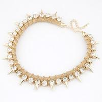 Fashion rivet punk necklace bling rhinestone neckless
