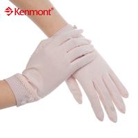Kenmont summer new arrival gloves women's sunscreen gloves 100% cotton pink km-2965-17