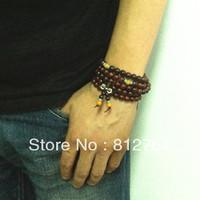 Free shipping wholesale 10pc/lot men's 108*8mm genuine red rosewood wooden agate turquoise beads man bracelet Buddha prayer mala