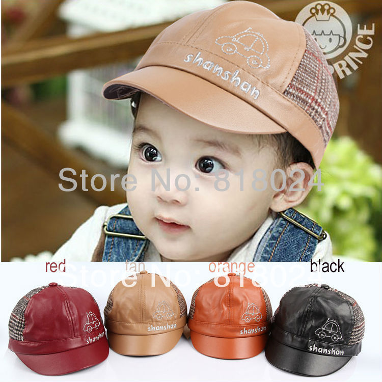 10pcs/lot 2014 New Children Leather Cap Hat Cute Car baby Infant Toddler Baseball Hat Children Accessories Free Shipping(China (Mainland))
