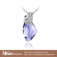 Free Shipping Migodesigns Autria crystal women 2013 fashion white gold swan claw necklace