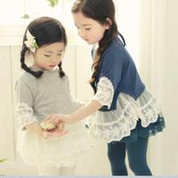 2013 autumn children's lace peter pan collar long-sleeve 100% cotton dress children outerwear