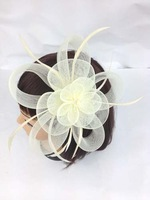 large Ivory Flower Feather Fascinator  Great For Weddings And Party Ball