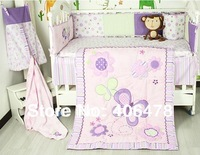 Baby Girls' cotton Cartoon Bedding Sets 3pcs quilt+cot bumper+fitted cover  purple butterfly flowers