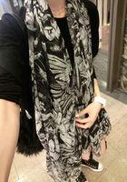 2014 fashion skull stereo tassel super large black and white scarf silk scarf cape