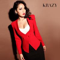 Free shipping elegant high quality vintage cloth buckle shoulder pads slim suit slim waist outerwear 590