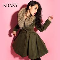Free shipping luxurious genuine leather raccoon fur sheep wool waist coat Army Green long outerwear 708