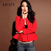 Noble ladies clothing krazy slim waist outerwear elegant woolen short design suit 625