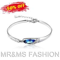 Free Shipping Wholesales 18K GP Austria Crystal Angel Tear Slipper Shalpe Cuff Bracelet Fashion Bracelet Jewelry 288