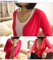 Free Shipping New Fashion Women's Cardigan  Full Sleeve Slim Cotton Solid Knitwear Sweater EE-028