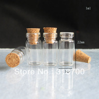 Free Shipping -1ml clear Mini Glass Bottle with wood cork, mini sample vials.wishing bottle, 0.5ml,1ml till 1000ml  is available