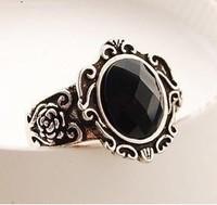 D082 retro Fashion women ring style black gem mirror