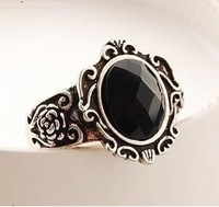 D082 retro Fashion women ring style black gem mirror free shipping