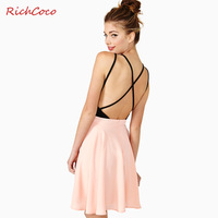 Richcoco sexy cross spaghetti strap colorant match V-neck racerback one-piece dress suspender skirt d171