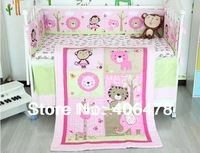 6pcs basic set Bedding Sets quilt+cot bumper+fitted cover/bed skirt/blanket/nappy stacker Cotton Baby Cartoon Sweat pink animals