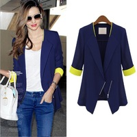 High Quality 2013 Women's Fashion Hit color Slim Elegant Blazers Suits, Plus Size XL,Blue,White Jackets Free Shipping