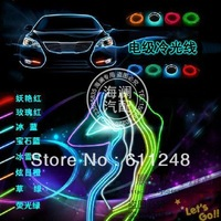 Free Shipping Auto EL wire, cold light / ambient LED lighting, decorative lamps/ Purple color,2 meter,12V DC,No Drive,