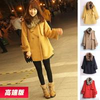 Raccoon fur sweet cloak overcoat medium-long cashmere woolen outerwear