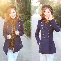 2013 autumn and  slim wool coat wool Women preppy style medium-long  woolen outerwear