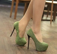 Free Shipping 2013  Women's Platform High-heeled Paillette Shoes Green Single shoes Prince Wedding shoes