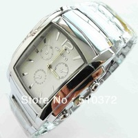 free shipping 1pcs/lot Silver Luxury Gents Men's Man white Face Wrist Watch business gift n1w