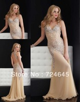 Unique 2013 New Arrival Champagne Chiffon Beaded  Cheap Rufles Shirred Sexy Cheap Long  Prom Dress Evening Party Dresses  Sexy