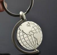 Free Shipping  Fashion Jewelry  Rotating globe metal key chain creative gifts key chain