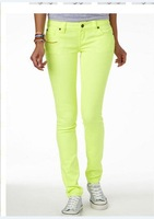 neon yellow green skinny jeans pencil pants women's handbag high-elastic
