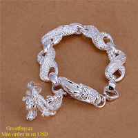 925-S077 Free Shipping Fashion Jewelry Sets Silver White Dragon Men Bracelet & Ring 2013 Factory Price