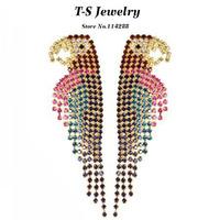 2014 Sale Brincos Arrival Fashion Brand Rhinestone Parrot Bird Drop Earrings Women Luxury Exaggerated Animal Statement Jewelry