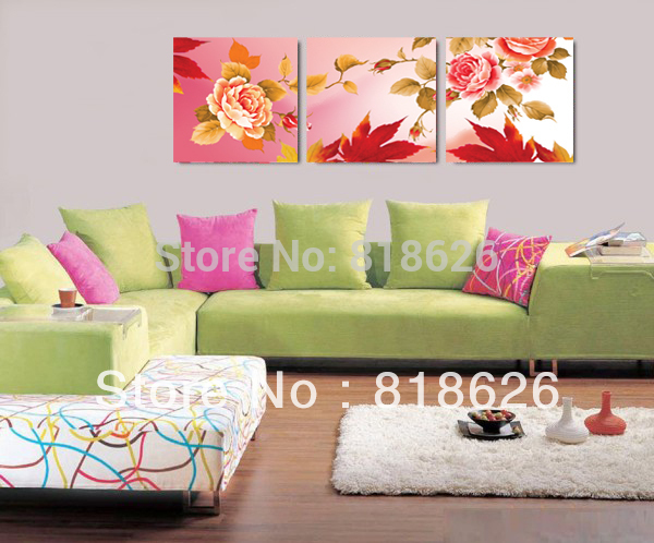 3pcs Warm Rose Flowers Canvas Romantic Hanging Picture - canvas for wall designs living rooms