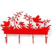 Chinese style flower paper-cut coat hooks iron art painting wall decors Home Decoration on Door Walls  Racks
