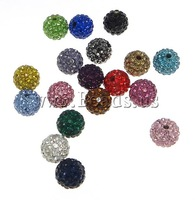 Free shipping!!!Rhinestone Clay Pave Beads,Western Jewelry, Round, with rhinestone & half-drilled, mixed colors, 6mm, 20PC/Bag