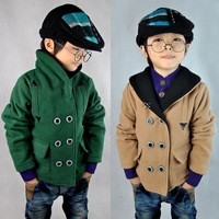 2013 children's clothing autumn and winter male child outerwear thickening preppy style overcoat