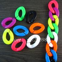 Free shipping 100pcs Detachable High quality Mixed colors Plastic Chain Links 30mm Large flat elliptical