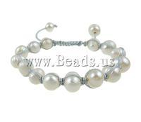 Free shipping!!!Freshwater Pearl Shamballa Bracelets,Female Jewelry, Cultured Freshwater Pearl, with Wax Cord, handmade, white