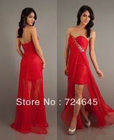 2013 New Arrival Red Chiffon Beaded Cheap Rufles Sweetheart Sexy Cheap Front Short Long Back  Prom Dress Evening Party Dresses