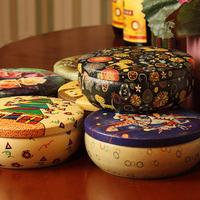 Free Shipping Zakka Flowers&Cat Black Tin Storage Box Sudries Box Jewelry Organizer Box Candy Box