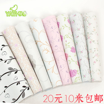 Free shipping PVC wallpaper rustic bedroom wallpaper glue sticky notes thickening 10 meters