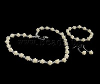 Free shipping!!!Natural Cultured Freshwater Pearl Jewelry Sets,Exaggerated, Rice, white, 3-4mm, 9x40mm, Length:17 Inch, 7 Inch