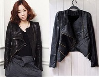 Free shipping 2014 Autumn Winter new fashion Women's Coat The Short Diagonal Zipper Motorcycle Leather Jackets hot selling