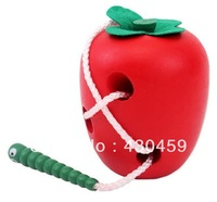 Solid wooden green large insect eating apples children's educational toys baby essential toys