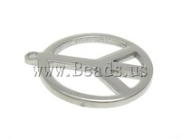 Free shipping!!!Stainless Steel Jewelry Pendants,Wholesale Jewelry, Peace Logo, oril color, 18x18x1.50mm, Hole:Approx 1.5mm