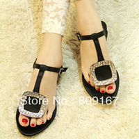 2013 new fashion diamond silk surface choke mouth small red pepper are flat sandals 2pairs