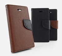 30PC/Lot DHL Free Original Quality Korea Style Fashion Mercury dual color Style PU Leather case for iphone 5 5G