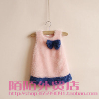 2013 children's clothing boutique tank dress bow color block c0106-1 princess dress