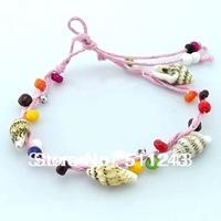 Colorful Braid Friendship Cords bead handmade conch beach Bracelets
