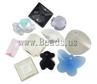 Free shipping!!!Crystal Pendants,Kawaii,, mixed colors, 13.5-38mm, Hole:Approx 1-2mm, 100PCs/Bag, Sold By Bag
