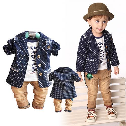Baby Clothing Sets Boys European Style Polka Dot Suit T Shirt Pants 2013 Fall Fashion Toddler